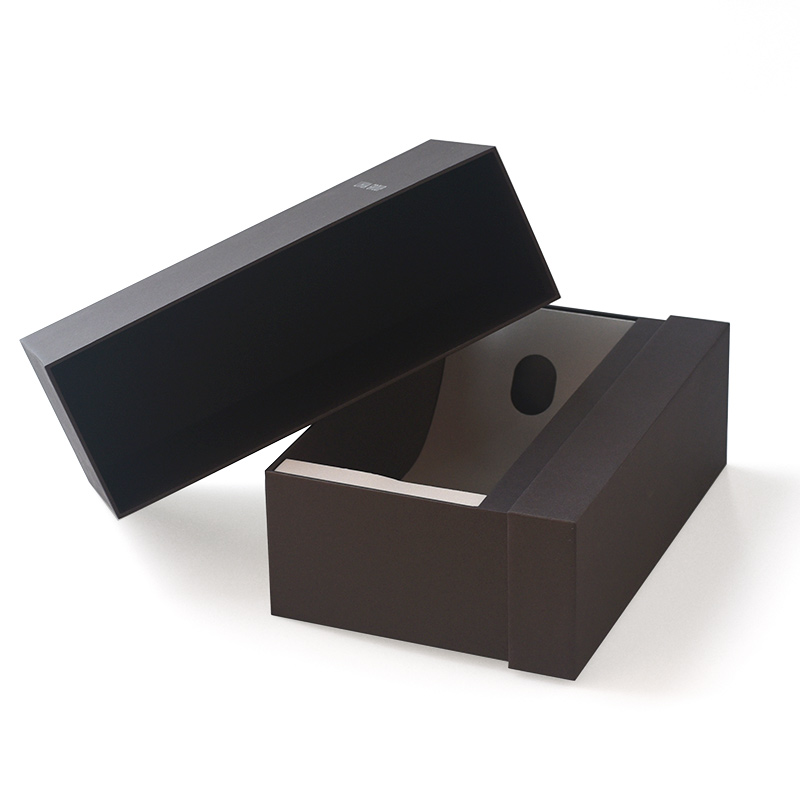 Customized Custom Luxury Black Pull Out Cardboard Corrugated Paper Packaging Bottle Wine Box